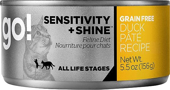 Petcurean Cat Go! Sensitivity + Shine Grain-Free Duck Pate Recipe Canned Cat Food, 5.5-oz