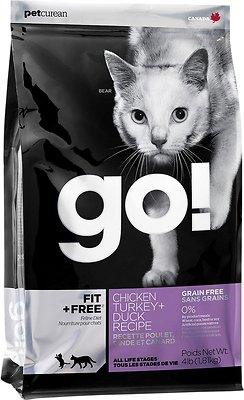 Petcurean Cat Go! Fit + Free Grain-Free Chicken, Turkey & Duck Recipe Dry Cat Food, 8-lb bag