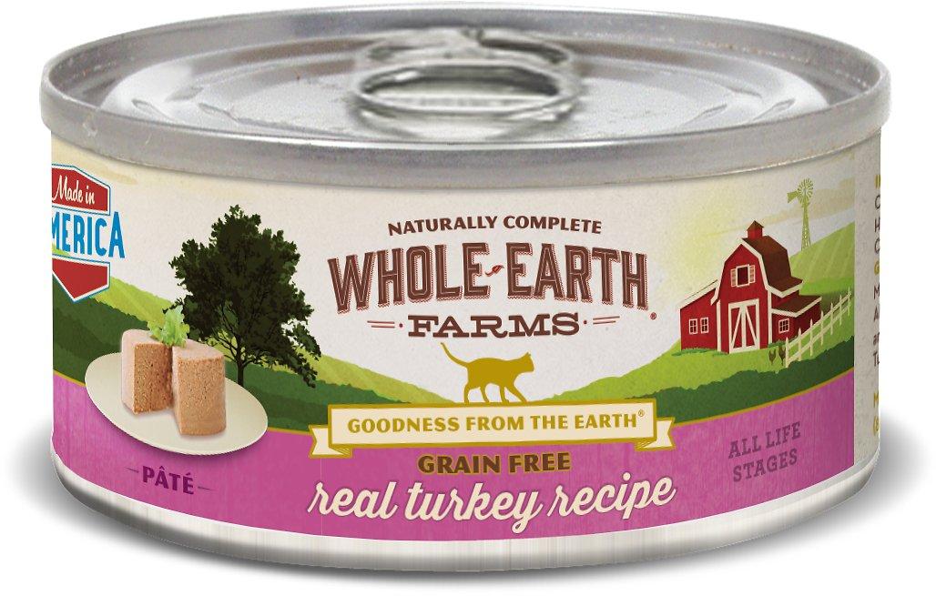 Whole Earth Farms Grain-Free Real Turkey Pate Recipe Canned Cat Food, 5-oz