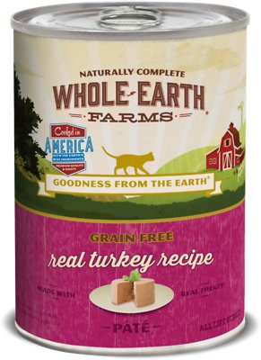 Whole Earth Farms Grain-Free Real Turkey Pate Recipe Canned Cat Food, 12.7-oz, case of 12