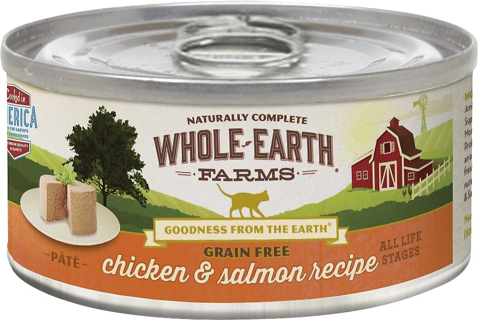 Whole Earth Farms Grain-Free Real Chicken & Salmon Pate Recipe Canned Cat Food, 5-oz