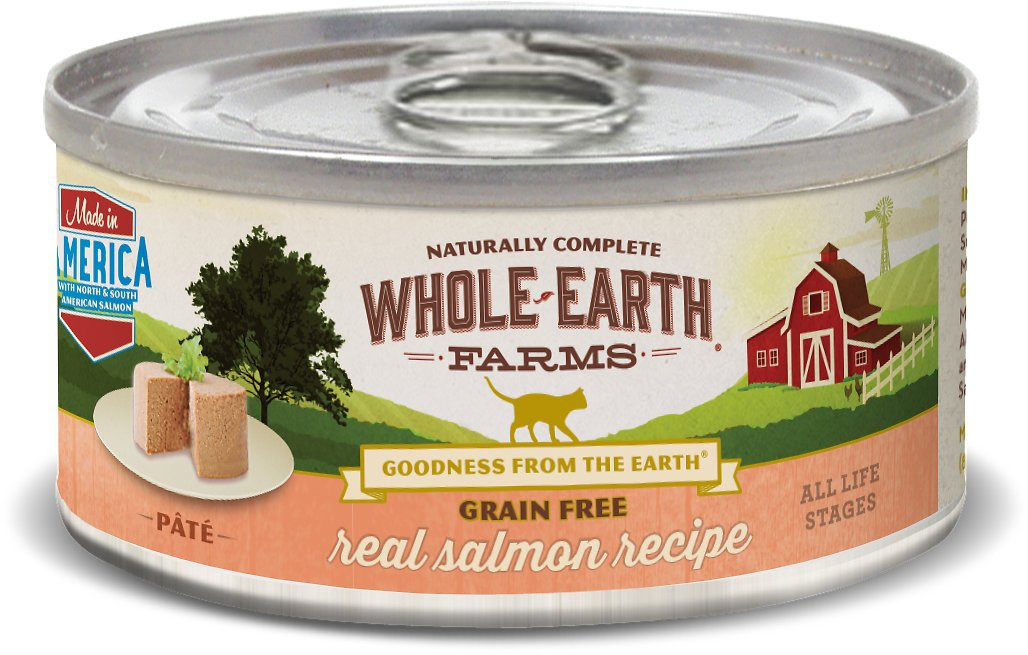 Whole Earth Farms Grain-Free Real Salmon Pate Recipe Canned Cat Food, 5-oz