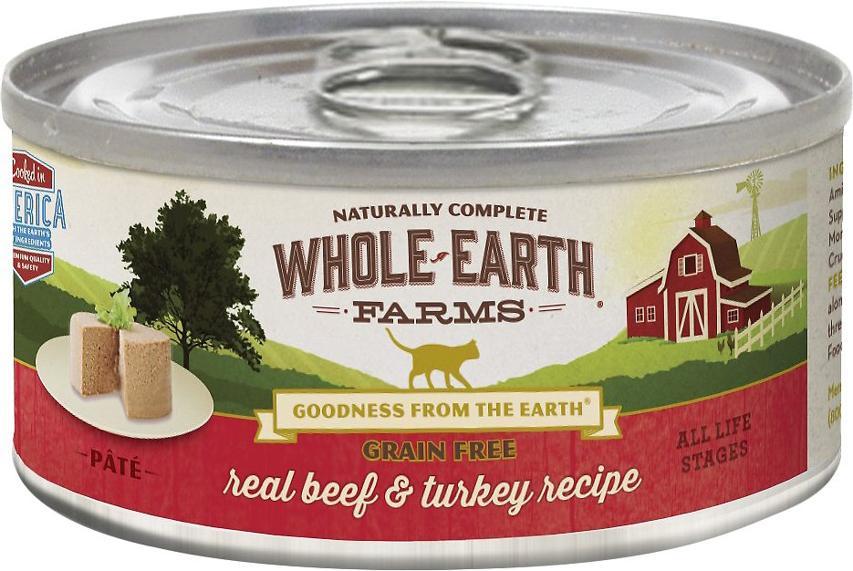 Whole Earth Farms Grain-Free Real Beef & Turkey Pate Recipe Canned Cat Food, 5-oz