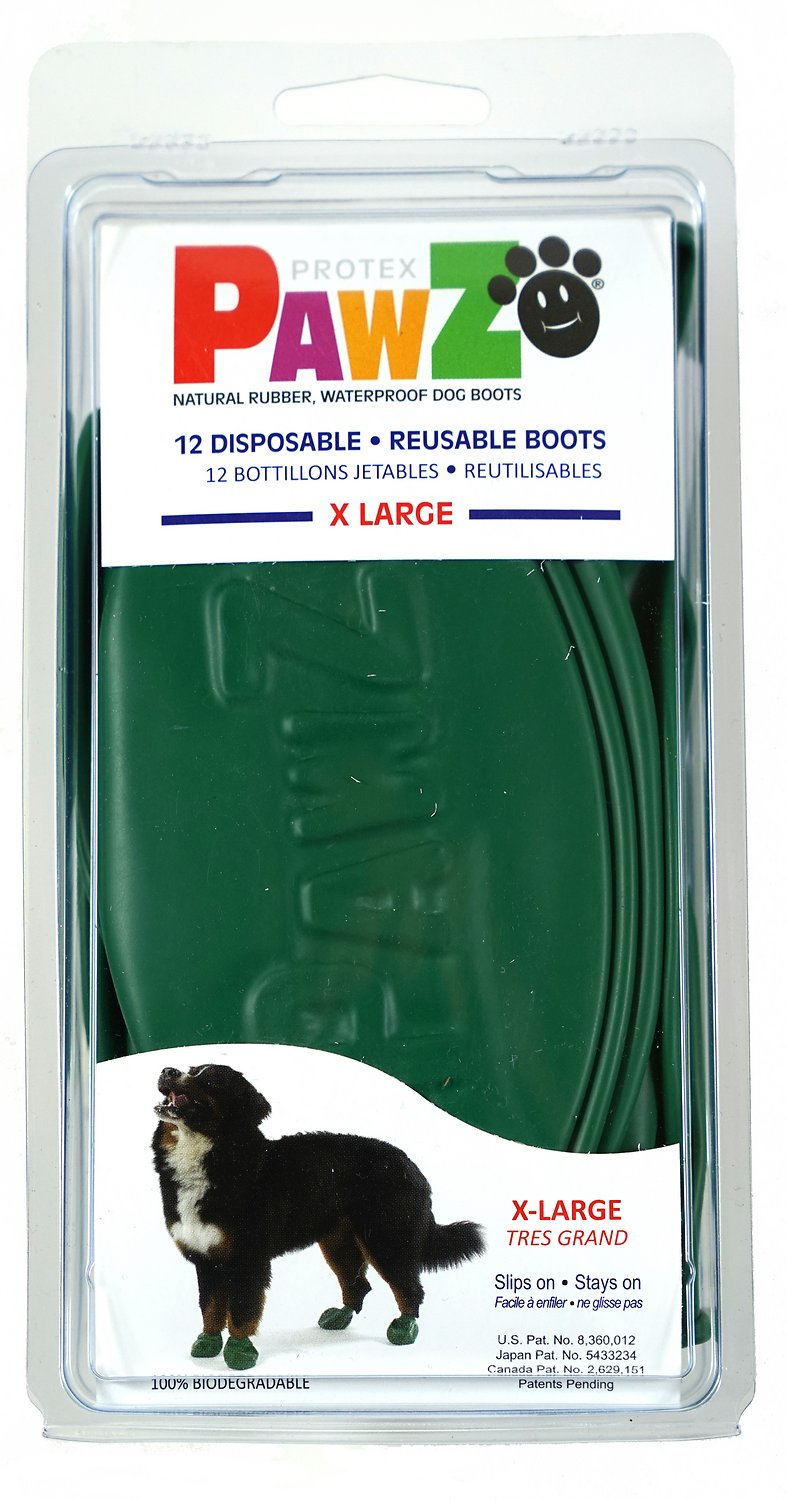 Pawz Waterproof Dog Boots, Green, X-Large