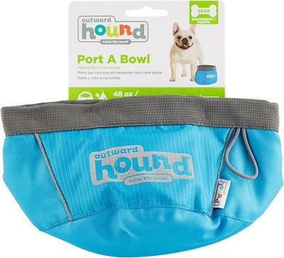 Outward Hound Port-A-Bowl Pet Bowl, Blue, 48-oz