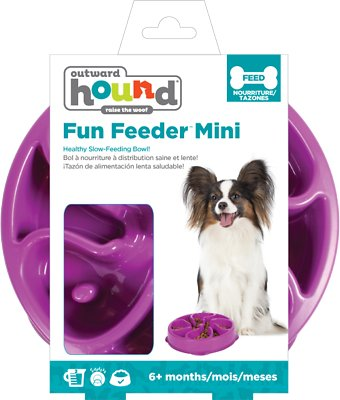 Outward Hound Fun Feeder Interactive Dog Bowl, Purple, Mini Purple
