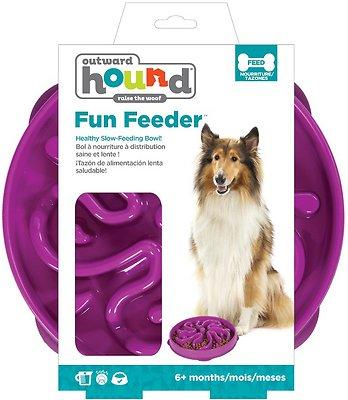 Outward Hound Fun Feeder Interactive Dog Bowl, Purple, Large Purple