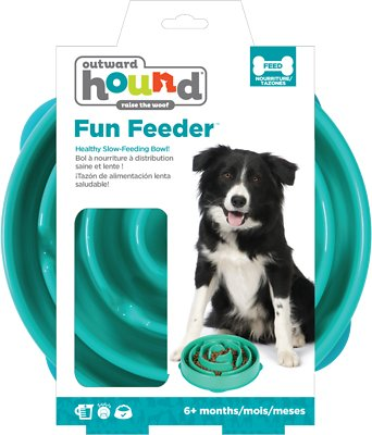Outward Hound Fun Feeder Interactive Dog Bowl, Teal, Regular Teal