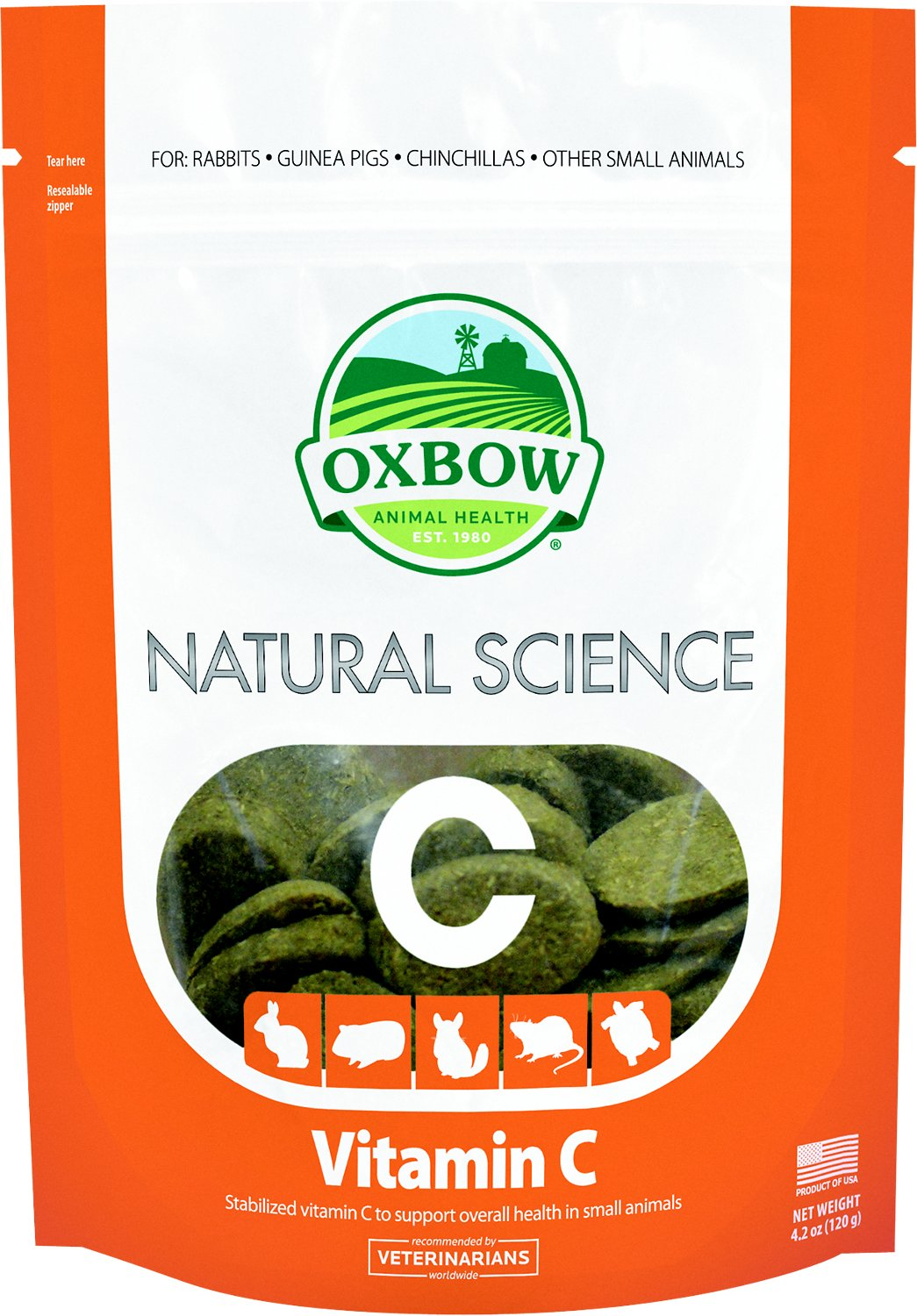 Oxbow Natural Science Vitamin C Small Animal Supplement, 60 count