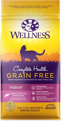 Wellness Complete Health Natural Grain Free Salmon & Herring Indoor Dry Cat Food, 2.25-lb