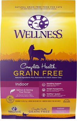 Wellness Complete Health Natural Grain-Free Salmon & Herring Indoor Dry Cat Food, 11.5-lb