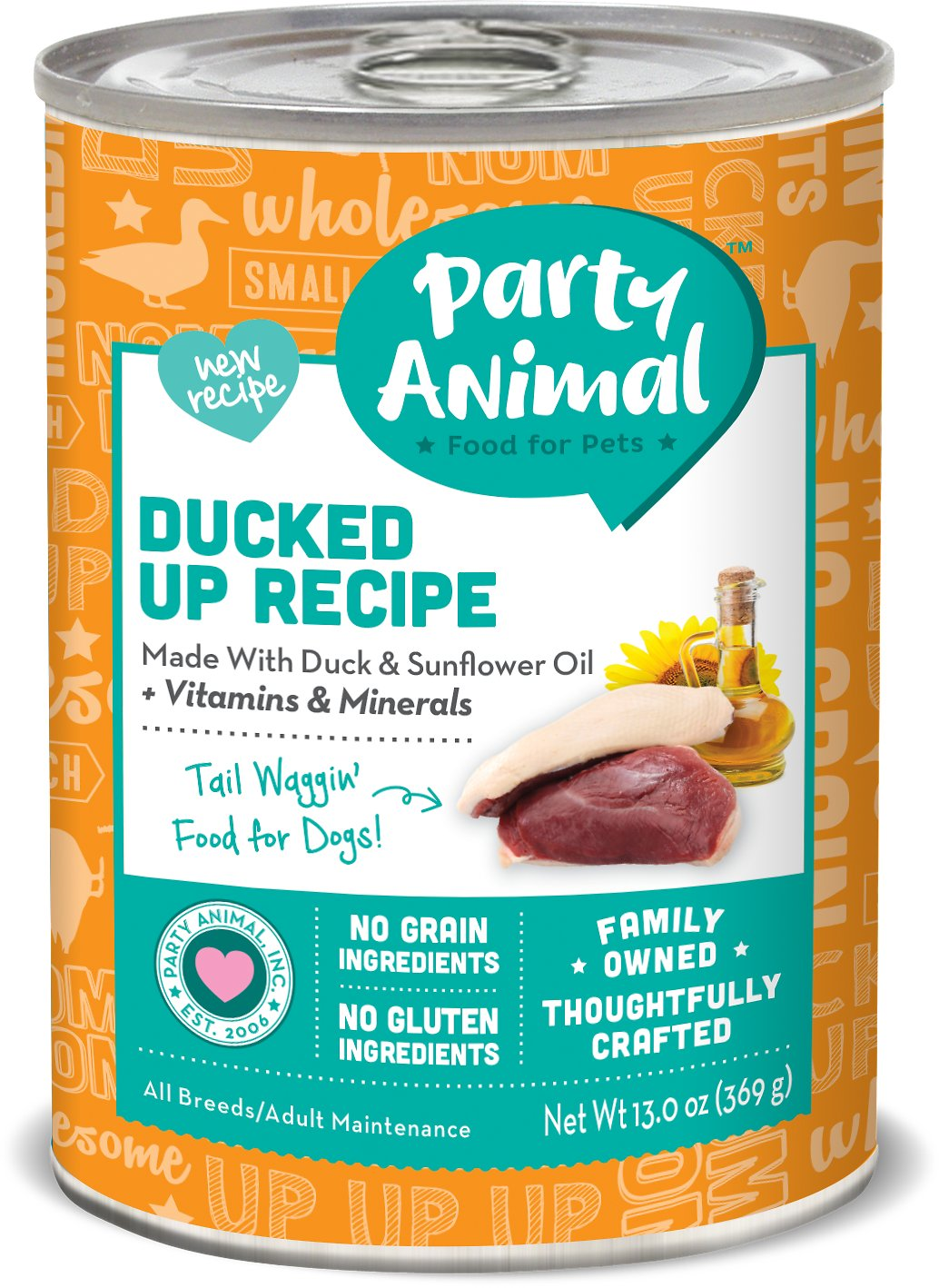 Party Animal Ducked Up Recipe Grain-Free Canned Dog Food, 13-oz