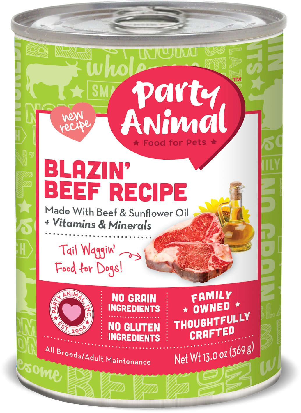 Party Animal Blazin' Beef Recipe Grain-Free Canned Dog Food, 13-oz
