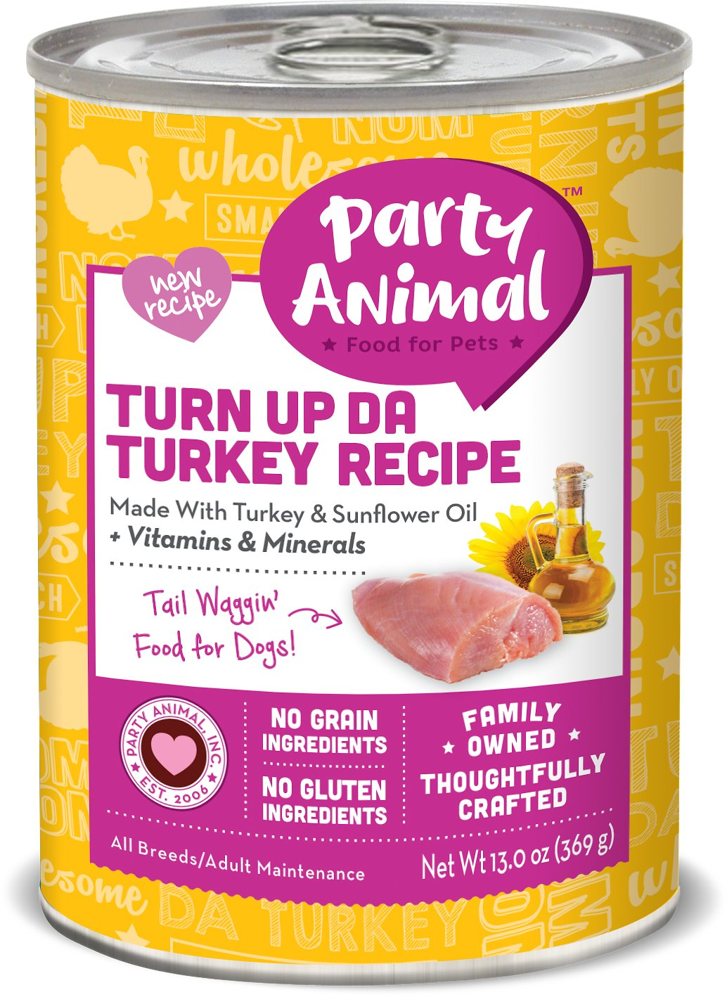Party Animal Turn Up Da Turkey Recipe Grain-Free Canned Dog Food, 13-oz