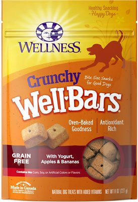 Wellness Crunchy WellBars Yogurt, Apples & Bananas Baked Grain-Free Dog Treats, 8-oz bag