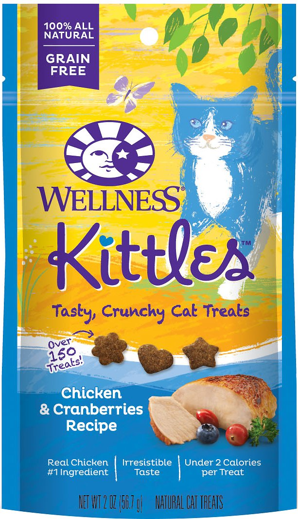 Wellness Kittles Grain-Free Chicken & Cranberries Recipe Crunchy Cat Treats, 2-oz bag