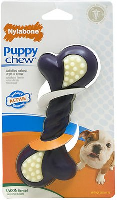 Nylabone Puppy Chew Double Action Bacon Flavor Dog Toy, Small