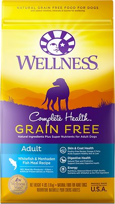 Wellness Grain-Free Complete Health Adult Whitefish & Menhaden Fish Meal Recipe Dry Dog Food, 4-lb bag