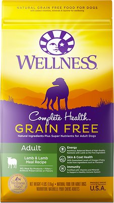 Wellness Grain-Free Complete Health Adult Lamb & Lamb Meal Recipe Dry Dog Food, 4-lb bag