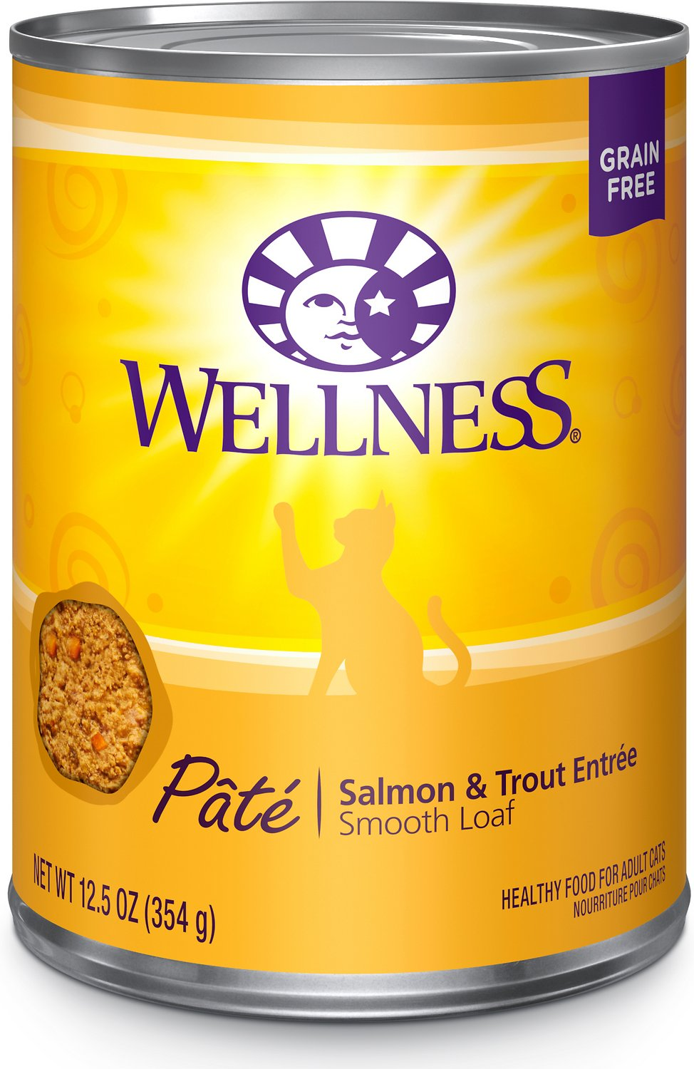 Wellness Complete Health Salmon & Trout Formula Canned Cat Food, 3-oz