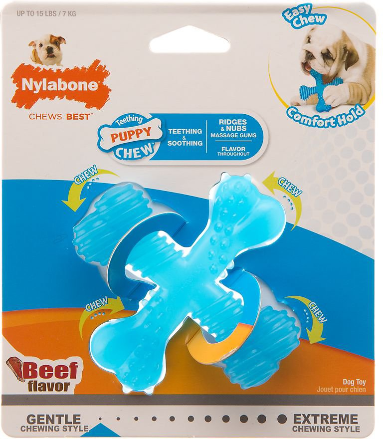 Nylabone Teething Puppy X Bone Beef Flavored Chew Toy, Small