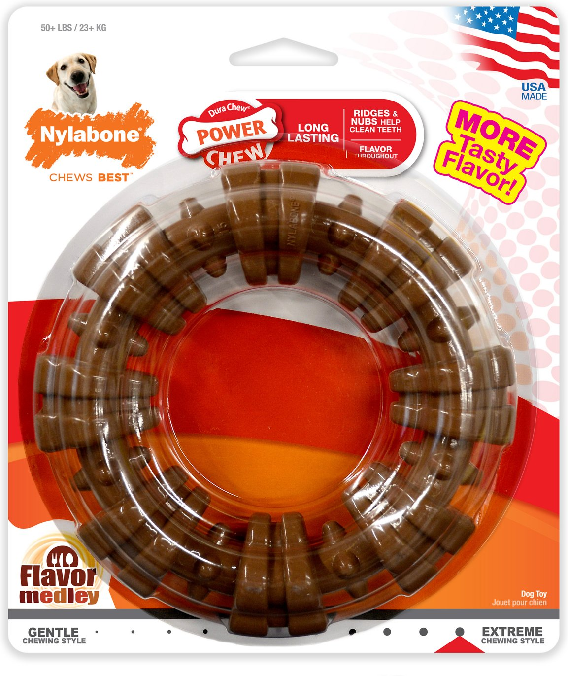 Nylabone DuraChew Textured Ring Chicken Flavor Dog Toy, X-Large