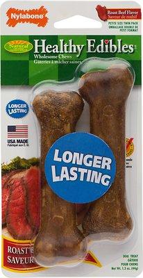 Nylabone Healthy Edibles Twin Pack Roast Beef Flavor Dog Bone Treats, X-Small