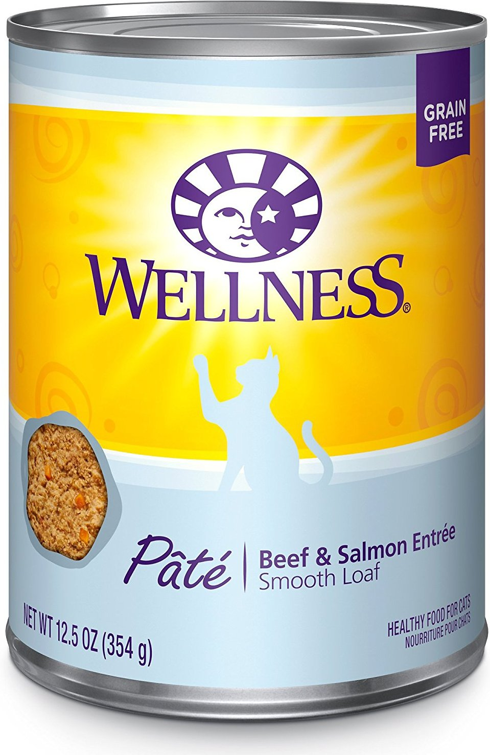 Wellness Complete Health Beef & Salmon Formula Grain-Free Canned Cat Food, 5.5-oz