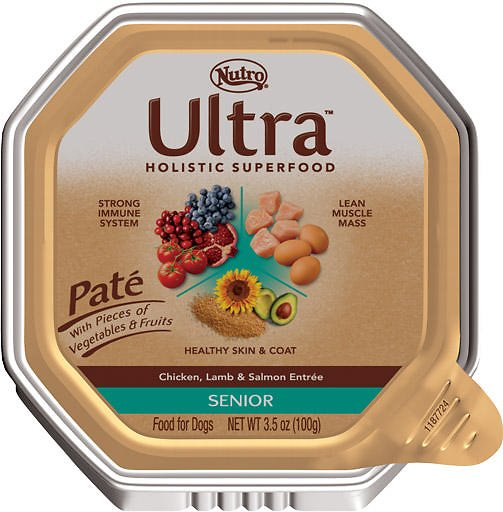 Nutro Ultra Senior Pate Chicken, Lamb & Salmon Entree Dog Food Trays, 3.5-oz tray