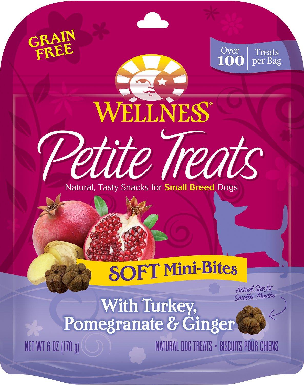 Wellness Petite Treats Soft Mini-Bites with Turkey, Pomegranate & Ginger Grain-Free Dog Treats, 6-oz bag