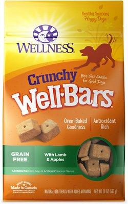 Wellness Crunchy WellBars Lamb & Apples Recipe Baked Grain-Free Dog Treats, 20-oz bag