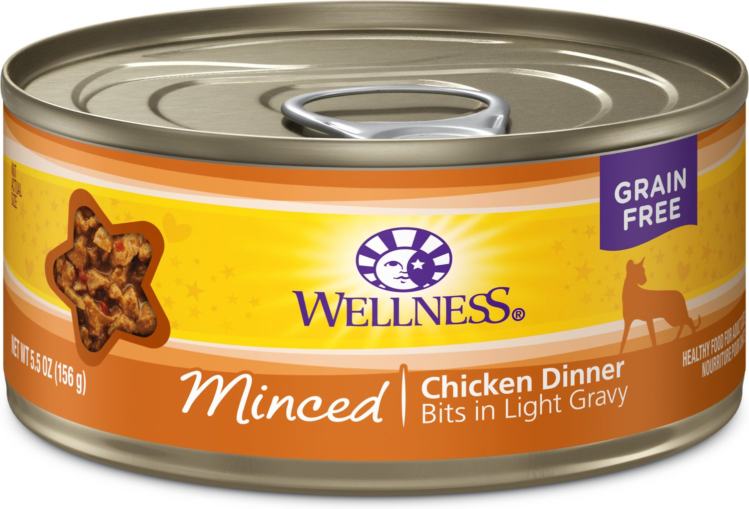 Wellness Minced Chicken Dinner Grain-Free Canned Cat Food, 3-oz