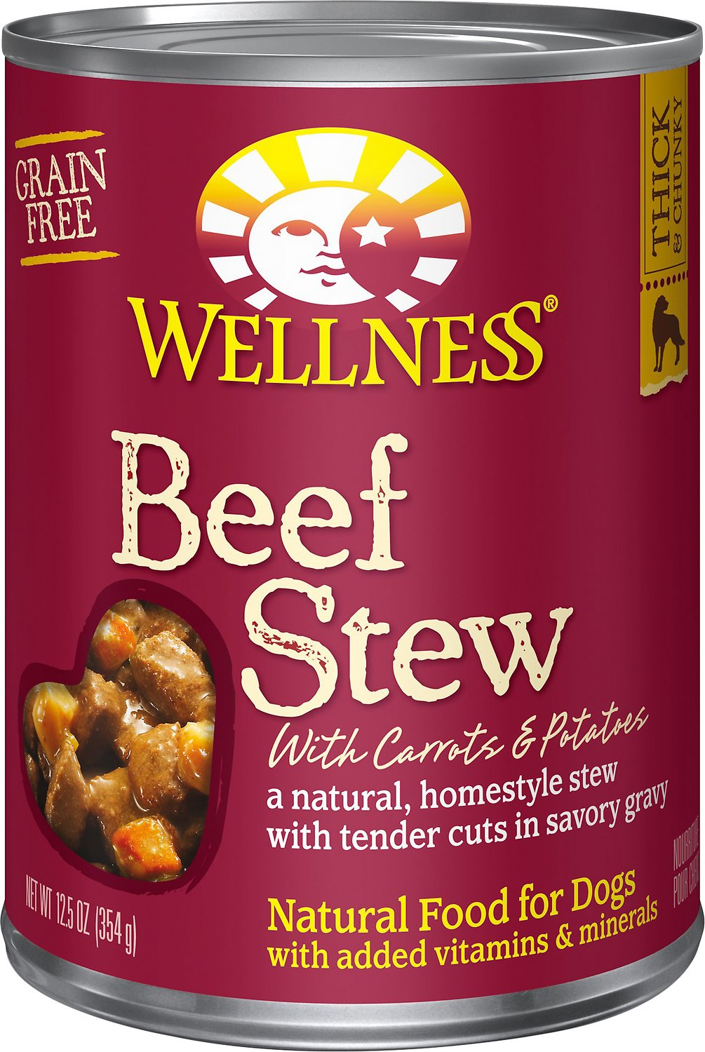 Wellness Beef Stew with Carrots & Potatoes Grain-Free Canned Dog Food, 12.5-oz