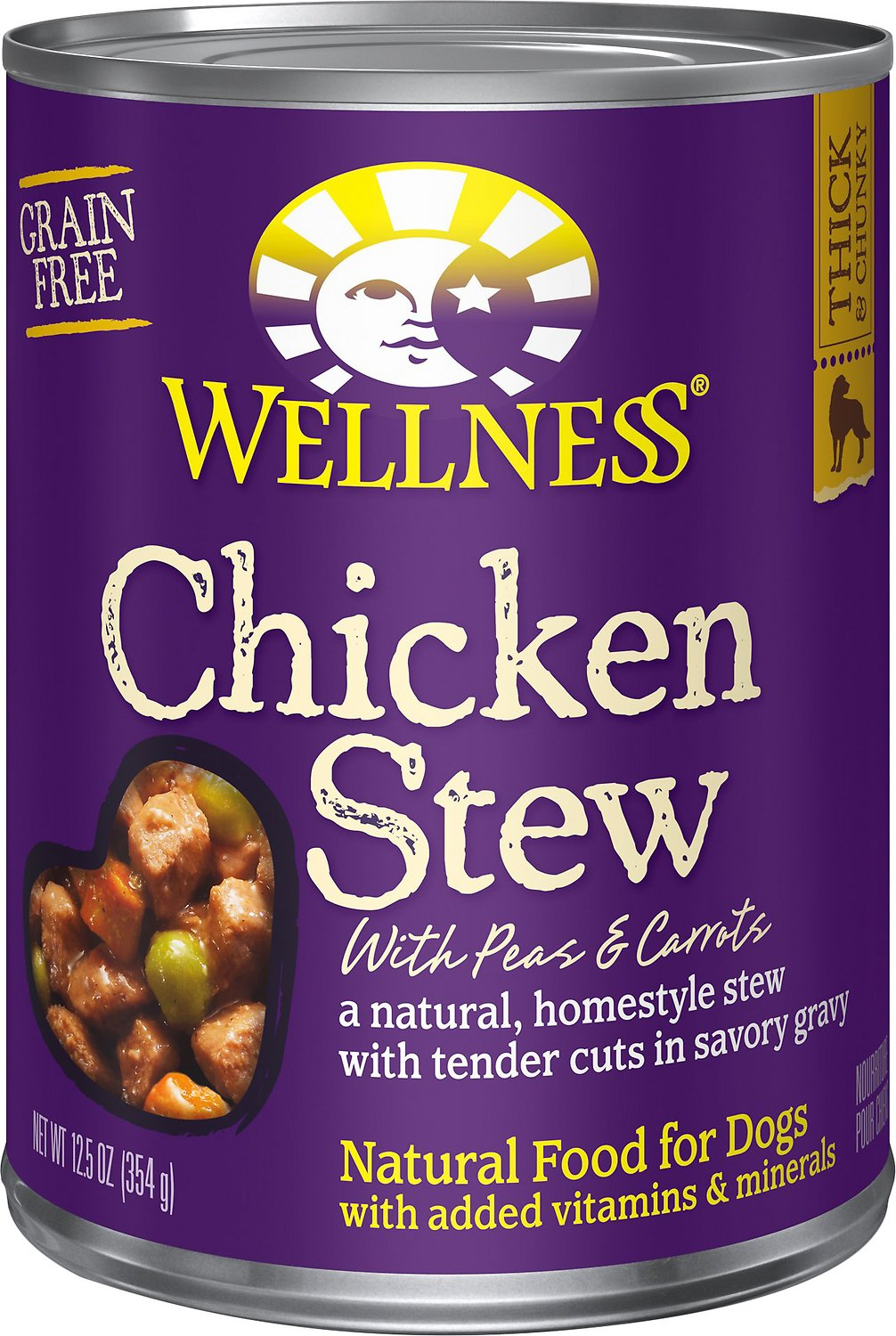Wellness Chicken Stew with Peas & Carrots Grain-Free Canned Dog Food, 12.5-oz