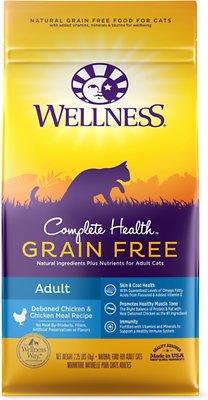 Wellness Complete Health Natural Grain-Free Deboned Chicken & Chicken Meal Dry Cat Food, 2.25-lb bag
