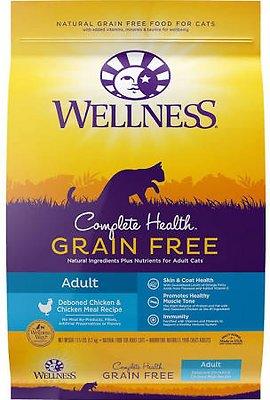 Wellness Complete Health Natural Grain-Free Deboned Chicken & Chicken Meal Dry Cat Food, 11.5-lb bag