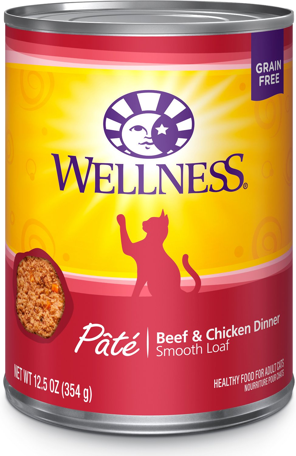 Wellness Complete Health Adult Beef & Chicken Formula Grain-Free Canned Cat Food, 12.5-oz