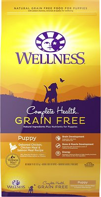 Wellness Grain-Free Complete Health Puppy Deboned Chicken, Chicken Meal & Salmon Meal Recipe Dry Dog Food