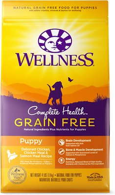 Wellness Grain-Free Complete Health Puppy Deboned Chicken, Chicken Meal & Salmon Meal Recipe Dry Dog Food, 4-lb bag