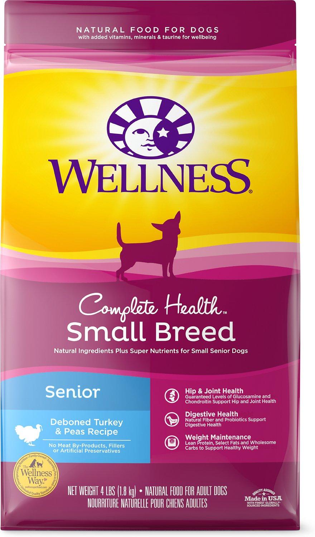 Wellness Small Breed Complete Health Senior Deboned Turkey & Peas Recipe Dry Dog Food, 4-lb bag