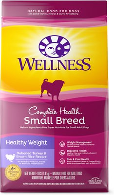 Wellness Small Breed Complete Health Adult Healthy Weight Turkey & Brown Rice Recipe Dry Dog Food, 4-lb bag