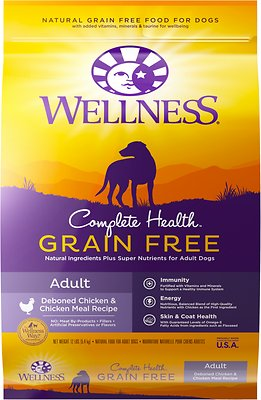 Wellness Grain-Free Complete Health Adult Deboned Chicken & Chicken Meal Recipe Dry Dog Food, 12-lb bag