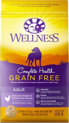 Wellness Grain-Free Complete Health Adult Deboned Chicken & Chicken Meal Recipe Dry Dog Food, 4-lb bag
