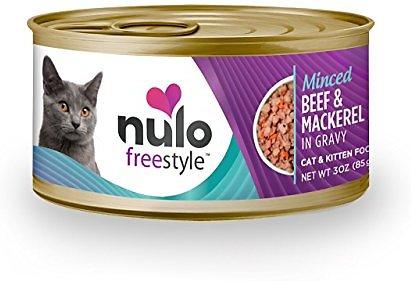 Nulo Cat Freestyle Minced Beef & Mackerel in Gravy Grain-Free Canned Cat Food, 3-oz