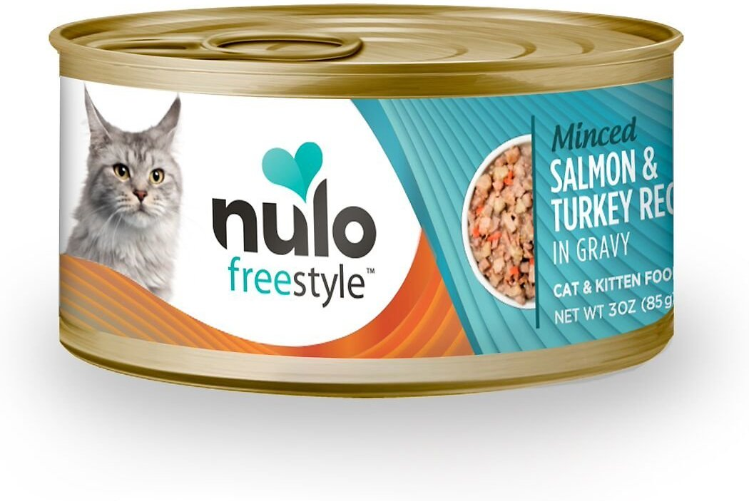 Nulo Cat Freestyle Minced Salmon & Turkey in Gravy Grain-Free Canned Cat & Kitten Food, 3 oz, 3 oz-