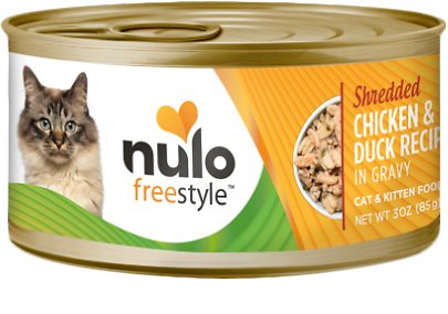 Nulo Cat Freestyle Shredded Chicken & Duck in Gravy Grain-Free Canned Cat Food, 3-oz