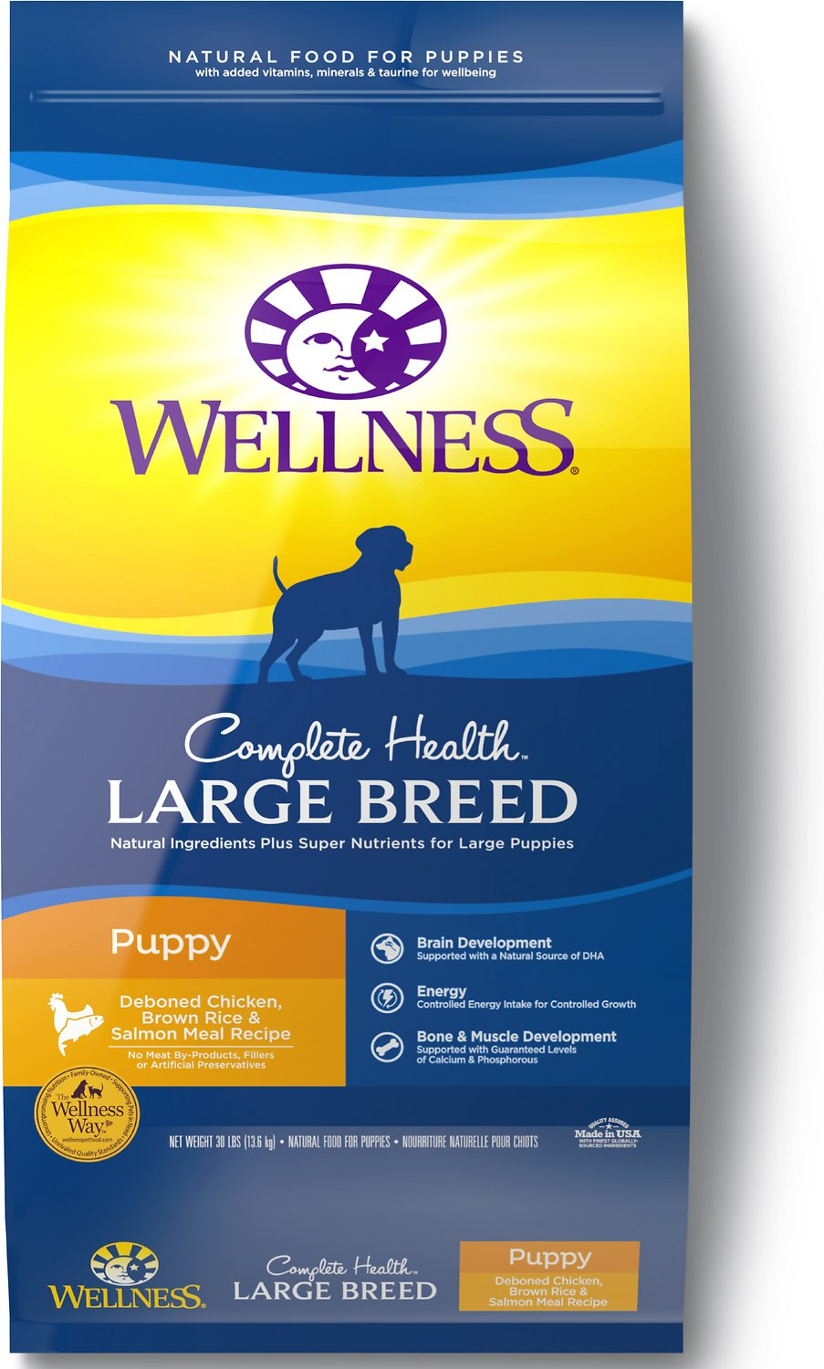 Wellness Large Breed Complete Health Puppy Deboned Chicken, Brown Rice & Salmon Meal Recipe Dry Dog Food Image