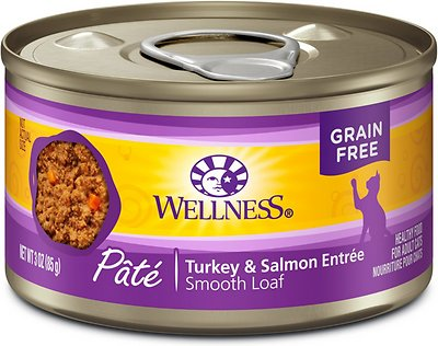 Wellness Complete Health Turkey & Salmon Formula Grain-Free Canned Cat Food, 3-oz
