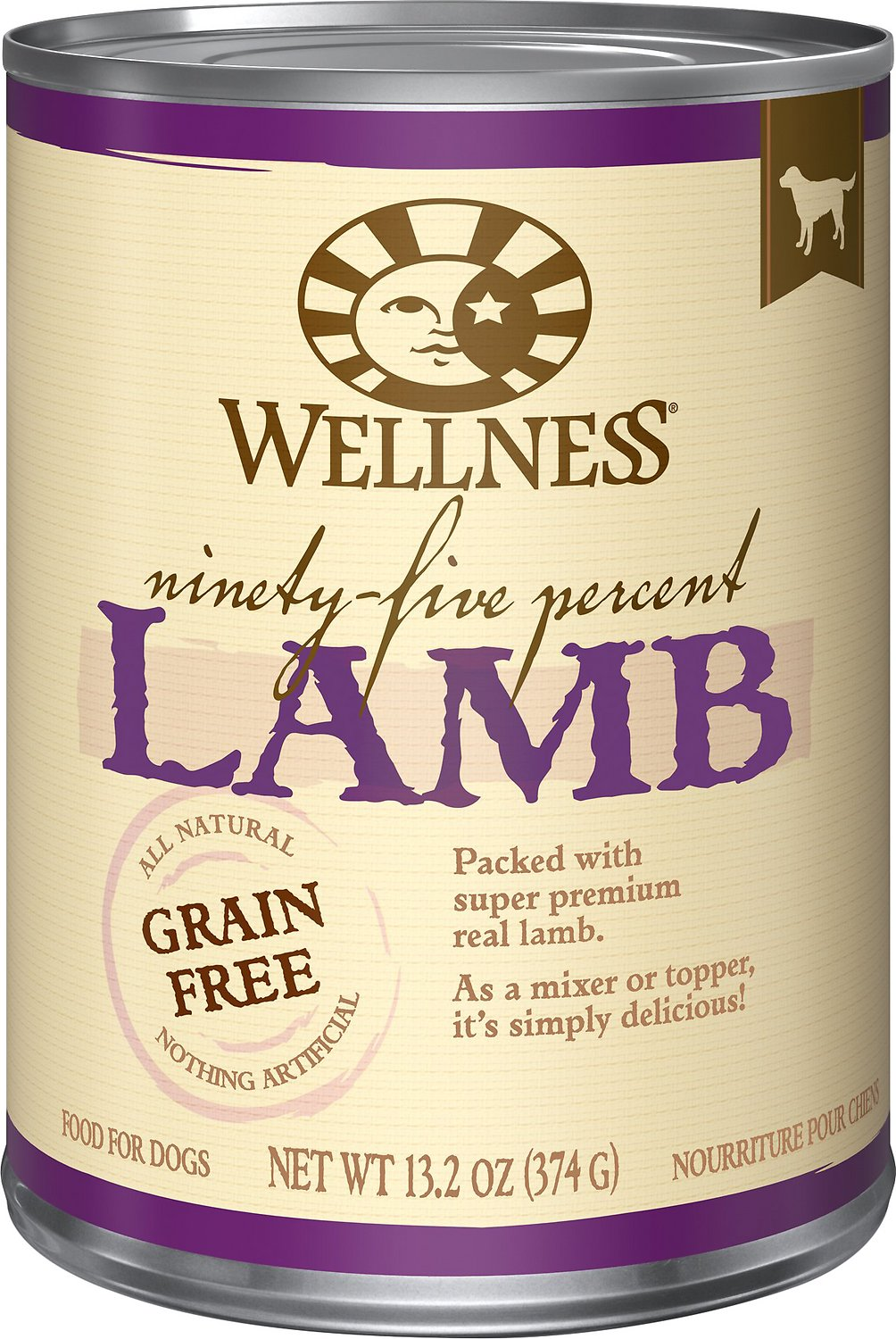 Wellness 95% Lamb Grain-Free Canned Dog Food, 13.2-oz