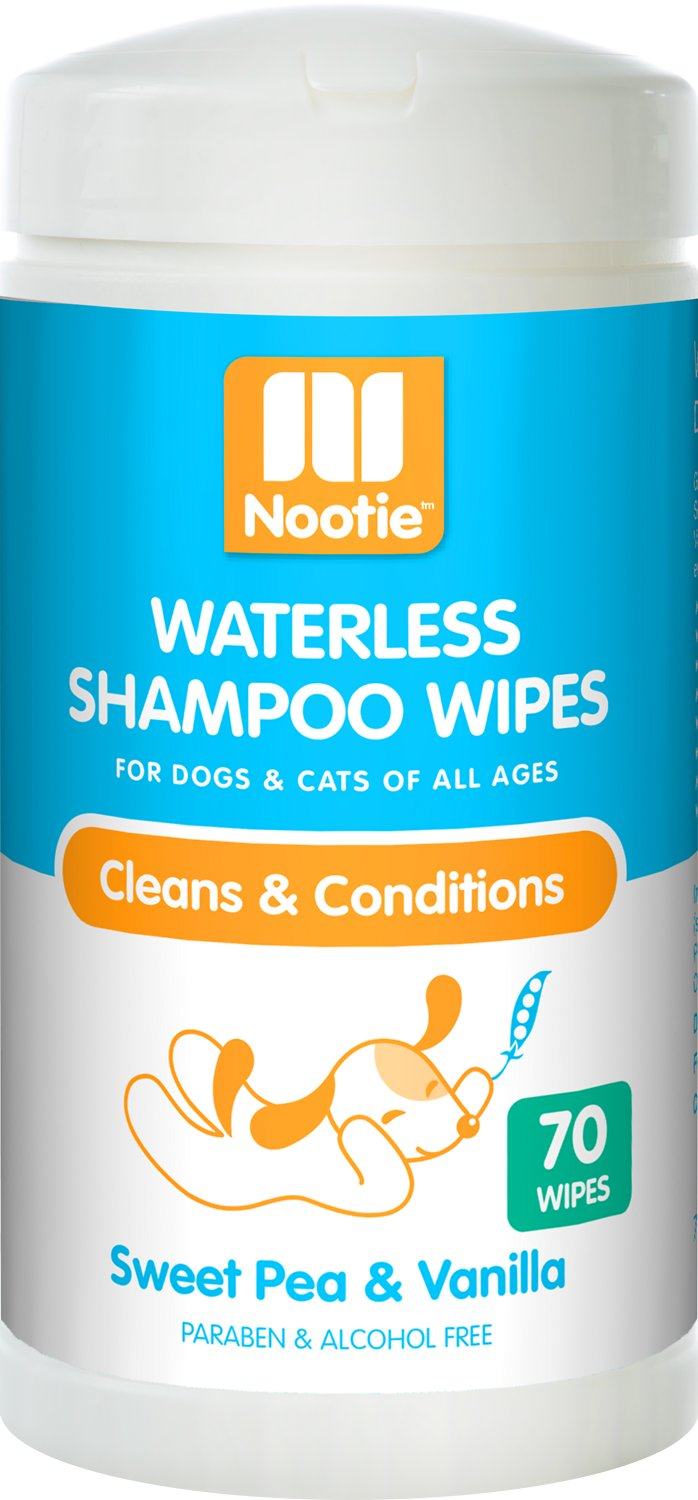 Nootie Sweet Pea & Vanilla Dog & Cat Waterless Shampoo Wipes, 70 count